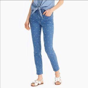 J. Crew Vintage Straight Polka Dot Blue Jeans 31
